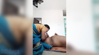 Mallu maid irrumation to her house owner with saree on