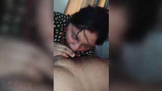 Aged wife oral-job to her pervert spouse