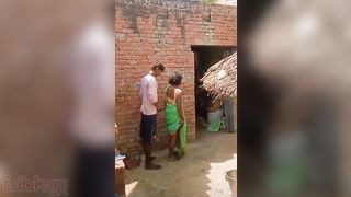 Village Bhabhi Doggy position sex in the backyard