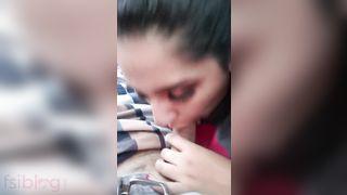 Desi secretary engulfing dick of manager inside car