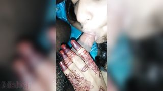 Newly married wife oral sex to her spouse