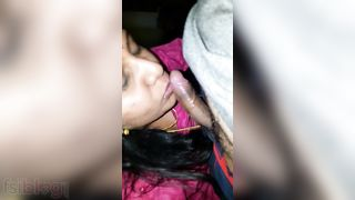 Tamil wife engulfing pecker of husbands stepbrother