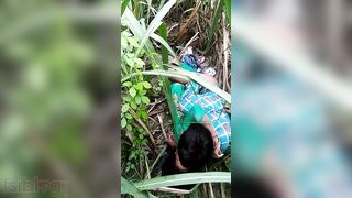 Dehati paramours having sex in a grass field