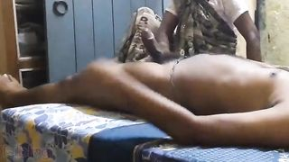 Older Indian maid cook jerking to her house owner