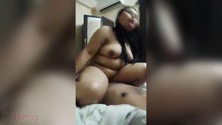 Overweight wife riding shlong MMS episode
