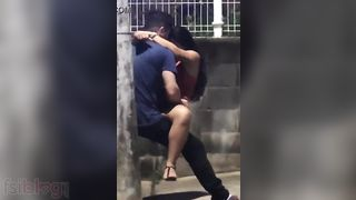 Outdoor quickie sex action has been caught on livecam
