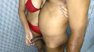 Indian Slutty Fucked In Red Bra By Devar In Bathroom XXX Sex