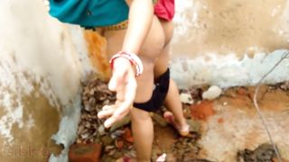 Risky Public Desi Sex. Indian Mom Fucked by Son In Barn Outdoors.