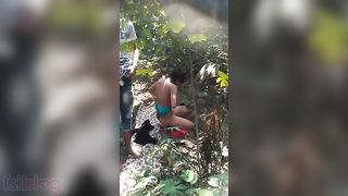 Shy indian lovers caught fucking in the outdoor by local guys