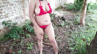 stepmom exposes her big ass boobs for her son outdoors in public