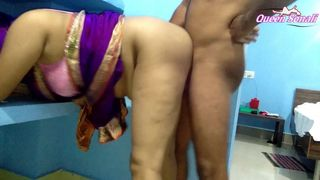 First Time Queen Sonali Has Painful Sex In Blue Saree, cum on boobs