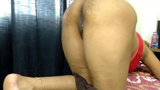 doggy fucking stepmom on the bed when daddy is in the office