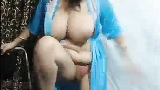 Breasty aunty vibrator sex show with marital-device dildo