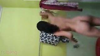 Topless Desi Bhabhi bathing in front of her Devar