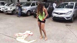 Telegu Actress getting undressed outdoors clip