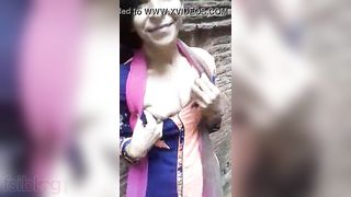 Village girl showing wobblers outdoors for her lover video