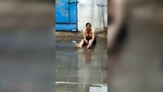 Desi Punjabi Bhabhi rain bathroom MMS sex movie scene