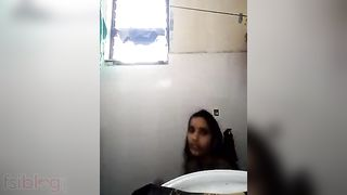 Bangla office gal bathing topless inside office throne room