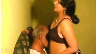 Bhabhi porn movie scene with her aged father-in-law in the home