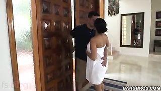 Concupiscent bhabhi sex episode enjoying the large white shlong of her bf