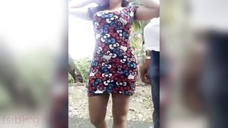 Large breasts beauty enjoys outdoor threesome with her most excellent friends