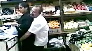 Aged pair enjoy a quick fuck in the super market