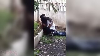 Concupiscent college pair have a fun a quick outdoor fuck with bf