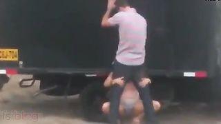 NRI cutie sucks and copulates her lover behind a truck