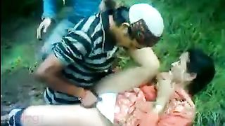Aged bhabhi enjoys outdoor 3some with 2 strangers