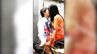 Lustful college pair caught fucking outdoors on hidden web camera