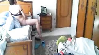 Horny sexy wife masturbates when alone at home