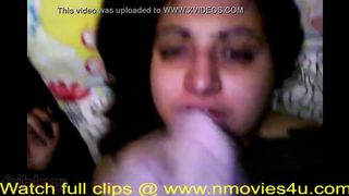 Hawt Indian chick gives oral-job and drinks cum