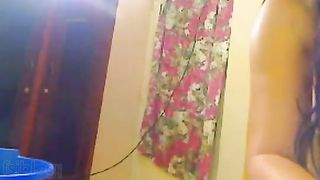 Indian wife showers for hubby on a webcam