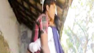 Indian outdoor sex clip of village cutie in uniform