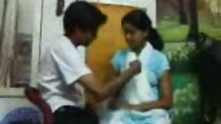 Indian youthful village cutie with bf front of cam
